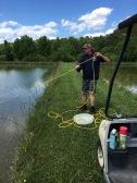 Dr. Ben Reading doing some pond sampling. PAFL Aurora, NC (2017).