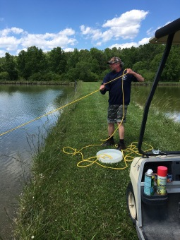 Dr. Ben Reading doing some pond sampling. PAFL Aurora, NC (2017).