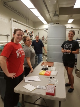 Pre-Sampling Event at Grinnell's for the 2017-2018 Growth Study (From Left; Erin Ducharme, Fara Marin, Benjamin Reading, myself). Photo Credit: Sarah Rajab.